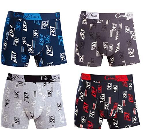 Calzoncillos Boxer para Hombre Ropa Interior con algodón Premium - Frente Grande en Y - Paquete de 4 Multicolores - Troncos de diseño Italiano