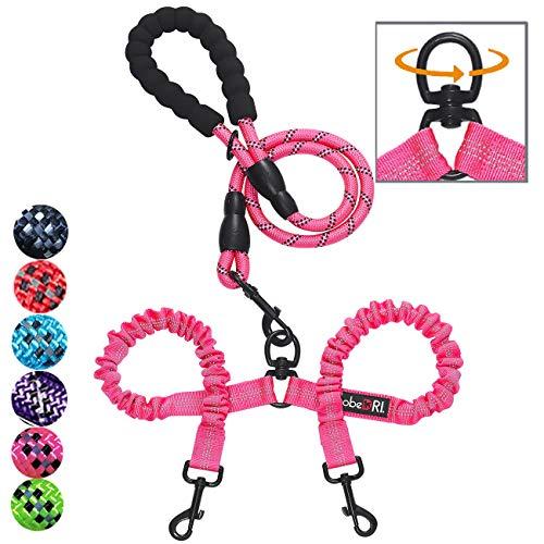 TobeDRI Doppel-Hundeleine, bequem, verhedderungsfrei, mit stoßdämpfendem Bungee, reflektierend, 2 Hundeleinen für große, mittelgroße und kleine Hunde, Pink 0-25 lbs