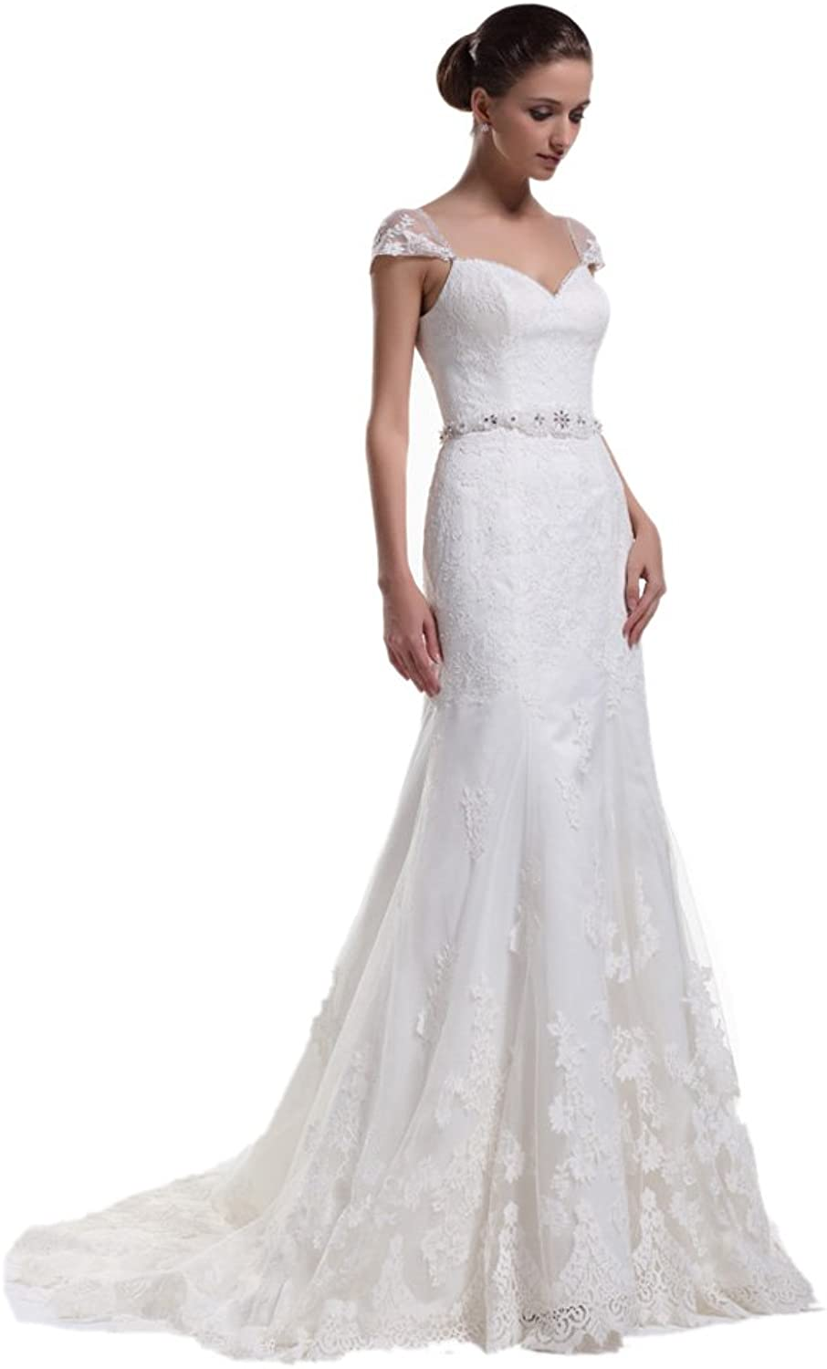 Dearta Women's ALine VNeck Court Train Lace Wedding Dresses