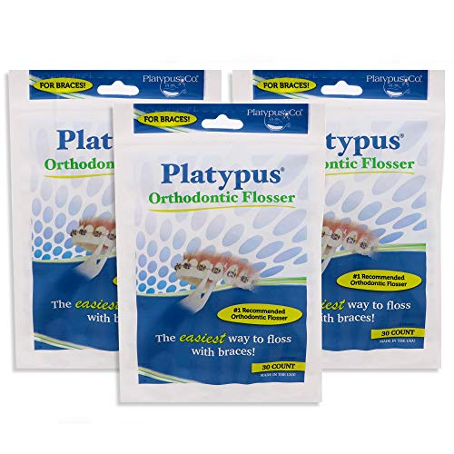 Platypus Orthodontic Flossers- Dental Floss Picks for Braces, Fits Under Arch Wire, Will Not Damage Braces, Increase Flossing Compliance, Floss Teeth in Less Than Two Minutes - 30 Count Bag (Pack of 3)