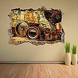 Pegatinas de pared - 3D- Vintage antiguo brújula binoculares mapa del mundo etiqueta de la pared decoración de la etiqueta mural - 50×70cm