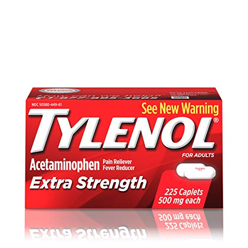 Tylenol Extra Strength Caplets with 500 mg Acetaminophen Pain Reliever amp Fever Reducer For Headache Backache amp Menstrual Pain Relief 225 ct