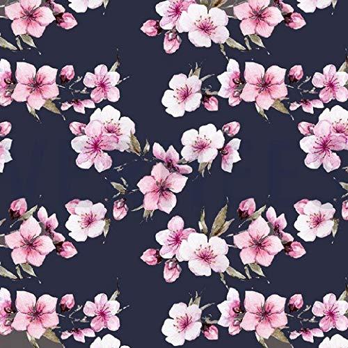 Jersey, pinkfarbene Blumen auf Graublau als Meterware zum Nähen von Erwachsenen und Kinder Kleidung - Digitaldruck, 50 cm
