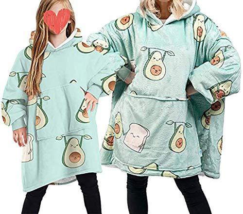 Übergroße Hoodie Sweatshirt Decke, Weiche Warme Riesen Hoodie Fronttasche Giant Plüsch Pullover Decke mit Kapuze for Erwachsene Männer Frauen Kinder (Avocado, Eine Größe für Frauen/Männer)