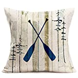 Fukeen Boat Paddle Throw Pillow Covers Cotton Linen Retro Wood Grain with Pine Trees Decorative Pillow Cases Adventure Theme Home Outdoor Decor Standard 18x18 Inch Cushion Cover