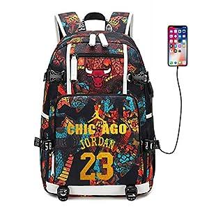 51GnNxYztuL. SS300  - Zpyh Jugador de Baloncesto de la Estrella Michael Jordan Lultifunctional Mochila Mochila los Aficionados Student Travel Bookbag Hombres Mujeres (USB Recargable) (Color : A Orange)