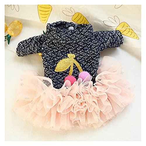 JJZXD Vestido de invierno para mascotas,ropa para perros,linda estrella rosa,falda de cereza,ropa para cachorros,falda de princesa de primavera para disfraz de perro pequeo