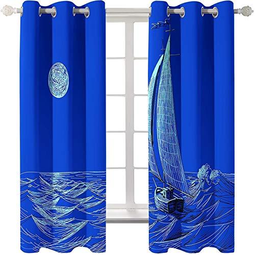 AmDxD 2 paneles de cortinas de poliéster, cortinas opacas para sala de estar, diseño de velero en el mar, lavable a máquina, color azul, 20,3 cm de ancho x 137,7 cm de largo