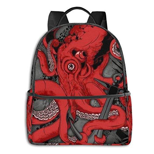 Lässiger Rucksack, große Kapazität, Diebstahlschutz, Mehrzweck-Bookbag Rucksack für Sport, Outdoor, Laufen – Oktopus und Anker Artwork, Geschenk für Jungen, Mädchen, Reisen, Wandern, Camping