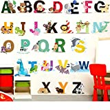 Finduat Alphabet Wall Stickers Decals, Removable Animal ABC Vinyl Wall Stickers for Kids Nursery Bedroom Living Room