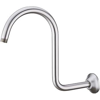 BESTILL S Shape Goose Neck Shower Head High Rise Extension Shower Arm and Flange, Brushed Nickel