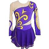 XRDSHY Vestido Patinaje Artístico Diamantes Brillantes para Mujer Chica Maillot Gimnasia Rítmica con Falda Body Baile Danza Ropa Bailarina Competición,Purple-Medium