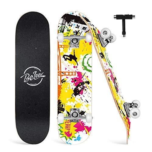 Beleev Skateboard Erwachsene 31x8 Zoll Komplette Cruiser Skateboard für Kinder Jugendliche Anfänger, 7-Lagiger Kanadischer Ahorn Double Kick Deck Concave mit All-in-one Skate T-tool(Gelb)
