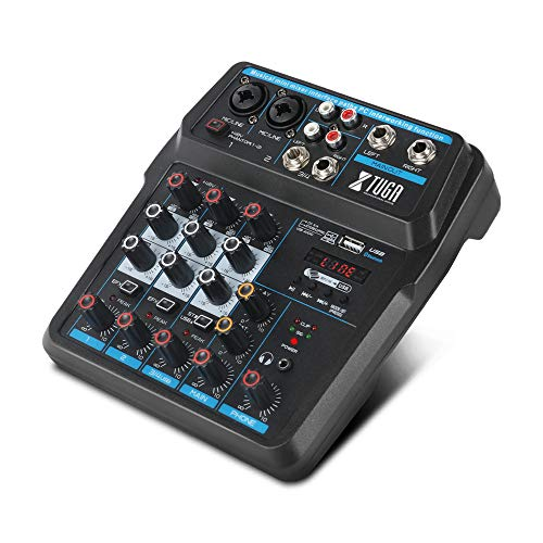 XTUGA AM4 4 Channels Audio Mixer Mini Sound Mixing Console with Bluetooth USB Record 48V Phantom Power Monitor Paths Plus Effects Use for home music production, webcast, K song