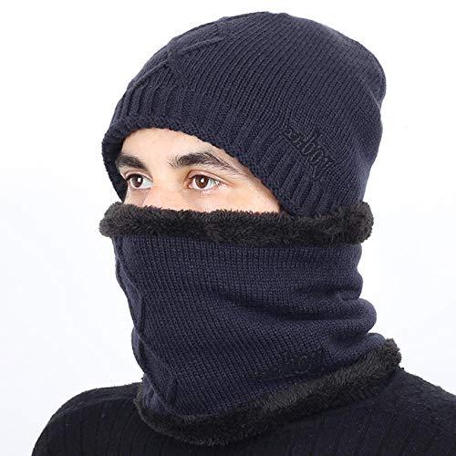 Bonnet Unisexe Chapeau tricoté Homme Beanie Hats, Pièceschaudes Hiver Chapeaux Écharpe GS pour Femmes Hommes Épais Coton Hiver Accessoires Femme Beanie Homme Écharpe @ Marine