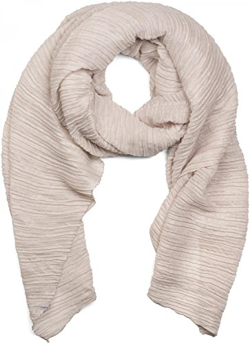 styleBREAKER gekreppter unifarbener Schal, Crash and Crinkle, Tuch, Plissee, Damen 01016107, Farbe:Beige