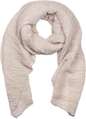 styleBREAKER gekreppter unifarbener Schal, Crash and Crinkle, Tuch, Damen 01016107, Farbe:Beige