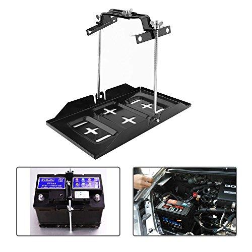 Auto-Batteriefach, Universalmetall Autobatterie Bootsbatterie Halterung und Einstellbare Niederhalteklammer Kit