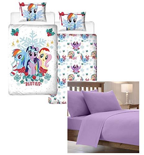 J&T My Little Pony 'Holly' Juego de funda de edredón individual, funda de almohada y sábana bajera ajustable, reversible, polialgodón, para niñas