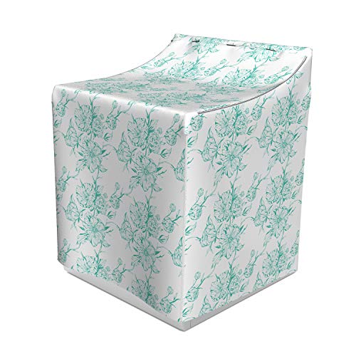 """Lunarable Turquoise Washer Cover, Monochrome Peony Flowers Romantic Bouquet of Flourishing Spring Nature, Dust and Dirt Free Decorative Print, 29"""" x 28"""" x 40"""", Turquoise White"""