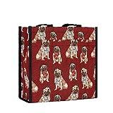 Signare Tapestry Arazzo Borsa a Tracolla Donna, Borse Tote per Donne, Shopping Tote Bag con Disegni di Cani (Carlino)