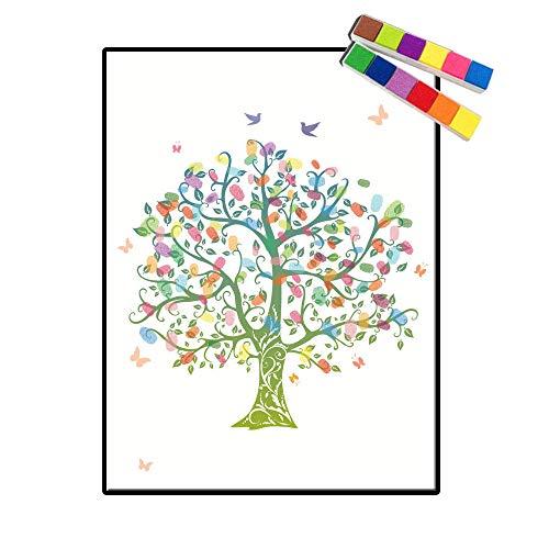 Nombre personalizado personalizado Fecha Huella digital Árbol Lienzo Baby Shower Cartel e impresión Firma DIY Libro de visitas Regalo de cumpleaños para niños