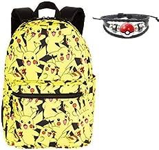 Pokemon Backpack - Pikachu Bag- For Kids Boys Girls Elementary School 16 Inch Black/Yellow Canvas mochilas para niños Ninos