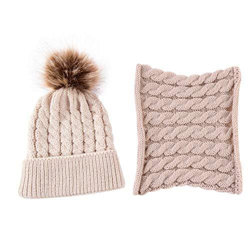 EFINNY 2Pcs Baby Kleinkinder Bobble Strickmütze + Schal-Sets Winter Warme Mütze Bommel Caps mit Plüschkugel für 0-2T