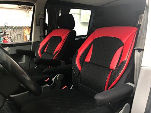 seatcovers by k-maniac Fundas de asiento T5 T6 Multivan California Kombi Caravelle Transporter Kasten asiento del conductor asiento del copiloto reposabrazos diseño T39 negro y rojo