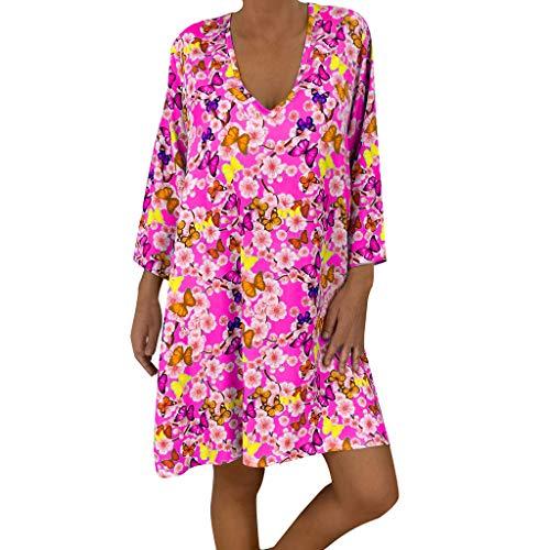 Dorical Plus Size Tunika Kleid Damen Frühling Herbst Langarm T-Shirt Kleid Lose Schulterfrei Blumendruck Freizeitkleid Unregelmäßiges Sexy V-Ausschnitt Minikleid Langes Shirt