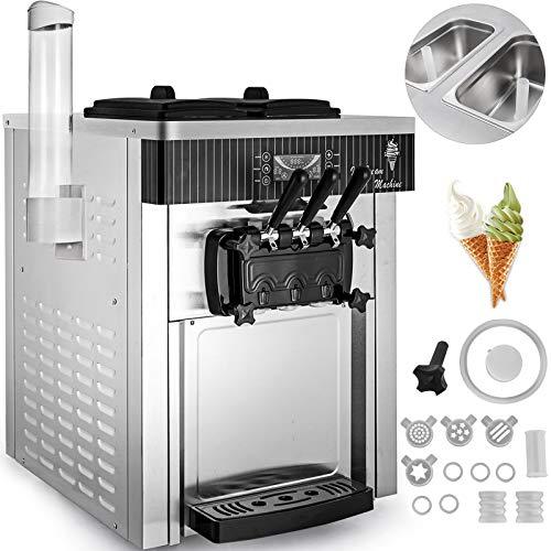 VEVOR Máquina de Helados Soft Heladera Maquina Helados Soft Comercial Maquina Helados Soft con 2 + 1 Sabores Vertical Ice Cream Maker 2200W Máquina de Helado de Servido Suave 6L*2