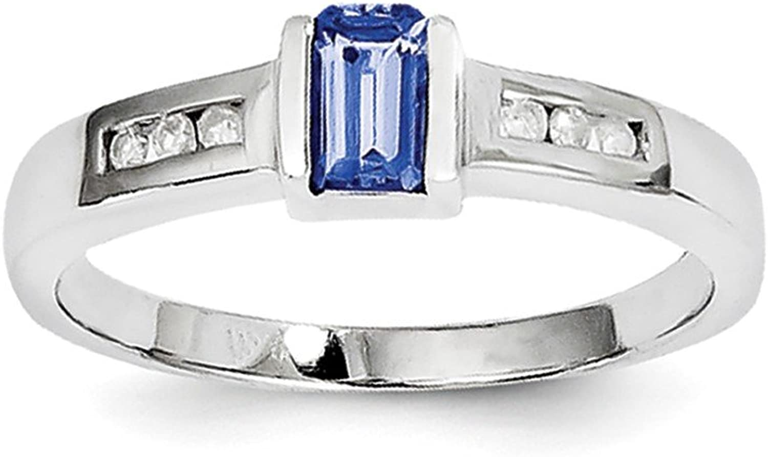 bluee Tanzanite And Round White Diamond 925 Sterling Silver Solitaire Ring Size (0.35ct, color bluee& H)