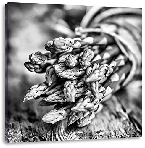 Asperges op houten tafelCanvas Foto Plein | Maat: 70x70 cm | Wanddecoraties | Kunstdruk | Volledig gemonteerd