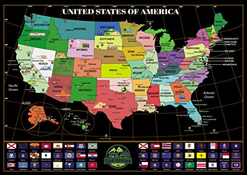 "United States of America 'Where You've Been' Scratch Off Map by YouR-Venture! Explore The Country and Journal Your RV Adventure! 24"" X 17"""