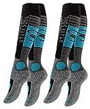 VCA - 2pares de calcetines funcionales de esquí para mujer, calcetines de esquí con acolchado...