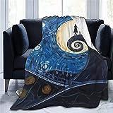 Yousiju Manta impresa Pesadilla antes de Navidad telón de fondo manta de franela cama tiro suave dibujos animados impresos sábanas de cama sofá (Color : C, Size : 100x120cm)