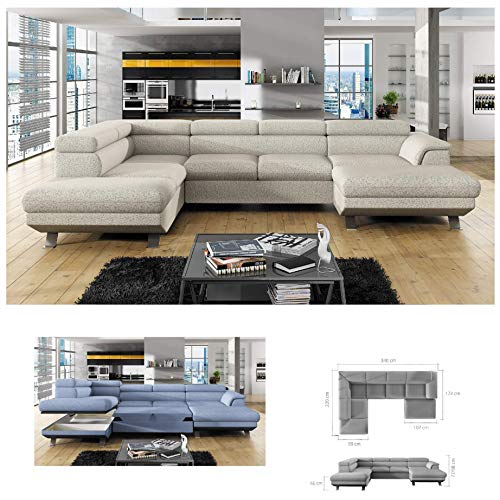BMF Phoenix XL - Divano angolare angolare a forma di U, divano a sinistra   Divano letto in qualsiasi colore a scelta in tessuto/ecopelle, schienale regolabile, letto estraibile imbottito
