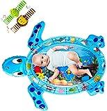Wsserspielmatte Baby, QPAU Groß Aufblasbare Wassermatte Baby mit Handgelenk Rasseln Spielzeug Set, Wassermatte Baby Spielzeug Perfektes für Baby Sensorisches Entwicklung Ausbildung(110x90CM)