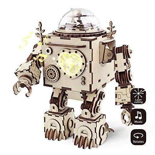 Robotime Build Robot Music Box Kit - Puzzle 3D in Legno Tagliato a Laser - Kit Modello Adulti - San Valentino Creativo / Compleanno per Ragazzi e Ragazze