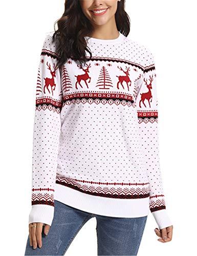 Abollria Maglioni Natalizi Maglione Elegante a Girocollo per Natale Pullover a Maglieria per Donna Umono Bambina e Bambino, Bianco, XXL