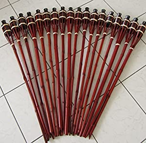 iapyx® Gartenfackel Bambusfackeln Bambus Fackeln Öllampen Windlicht Partylicht Garten Hochzeit Fest Silvester (Braun, 60cm)