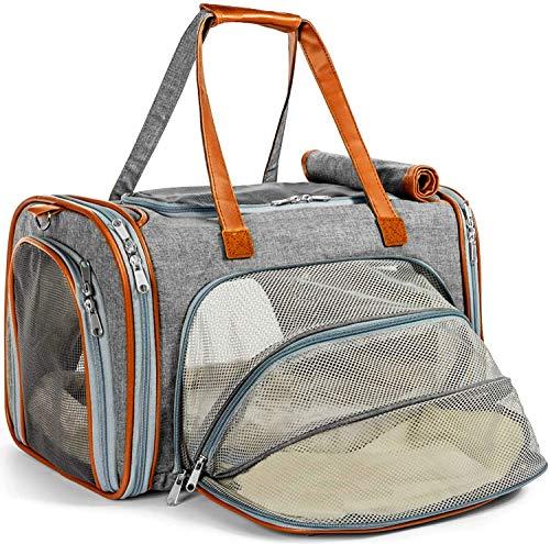 WTTX Katzentransportbox Katzen Transporttasche & Hundebox für den Transport von Hund & Katze im Auto oder in der Bahn 45 * 25 * 28cm (Grau)