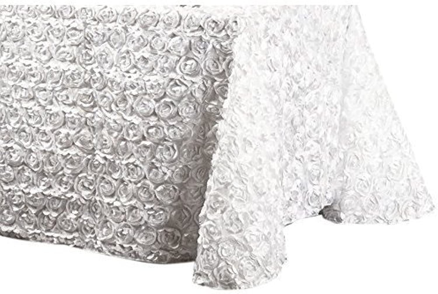 LinenTablecloth pinktte Satin Rectangular Tablecloth, 88 by 130-Inch, White