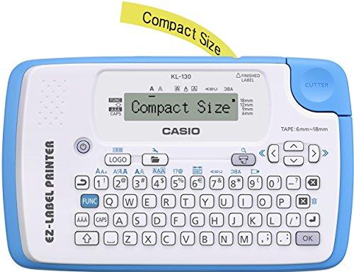 Casio EZ-Label Printer KL-130 Beschriftungsgerät für Schriftbänder 6/9/12/18 mm, weiß