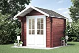 Alpholz Gartenhaus Lena-44 aus Massiv-Holz | Gerätehaus mit 44 mm Wandstärke | Garten Holzhaus inklusive Montagematerial | Geräteschuppen Größe: 250 x 250 cm | Satteldach