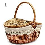 Feileng Handmade Wicker Picnic Basket Camping Shopping Storage Hamper Double Lid Handle