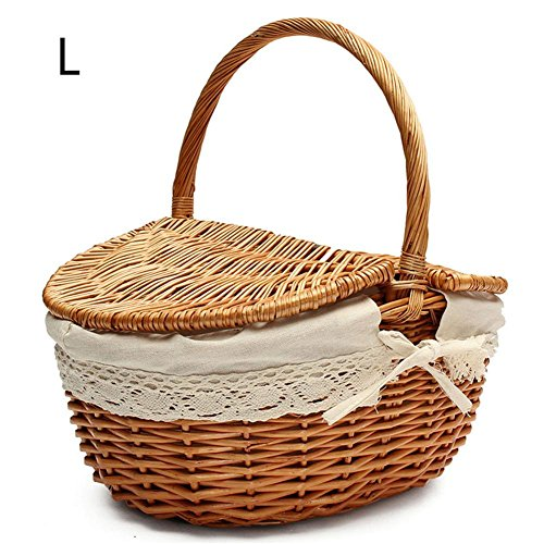 Wicker Picnic Basket - HandMade Wicker Camping Basket, Shopping Storage Hamper With Double Lids And Handle, Wooden Color Wicker Picnic Basket With Cloth Lining