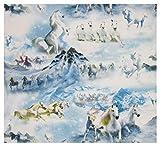 Tiere Pferde Berge Schnee Landschaft Winter hellblau Jersey