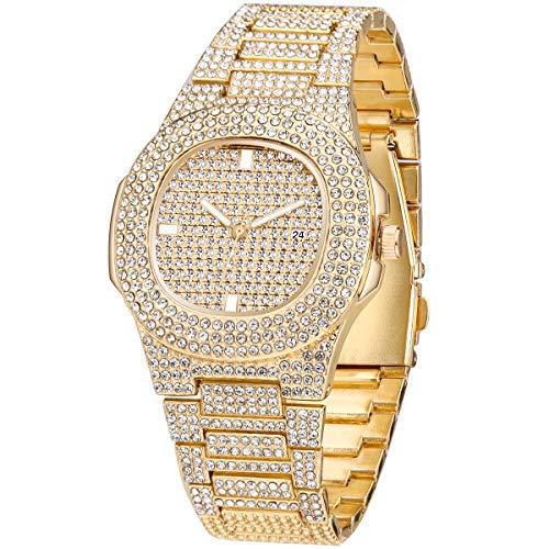 Reloj de pulsera rectangular con diamantes de lujo para hombre, con pulsera de acero inoxidable, color dorado