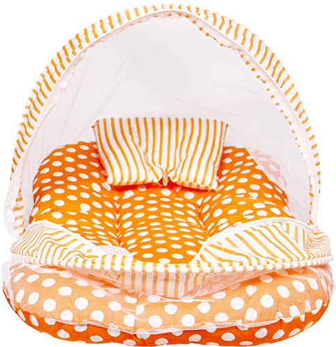 Momy Mom New Born Baby Zipped Mosquito Net/Portable Infant Bed with Net/Baby Sleeping Net; 0-9 Months, Polycoton- Orange